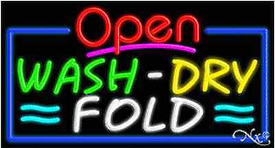 New Open Wash Dry Fold 37x20 Real Neon Sign Wcustom Options 15595