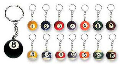16 Assorted Billiards POOL BALL KEY CHAIN Keychains Wholesale Lot -US Seller NEW