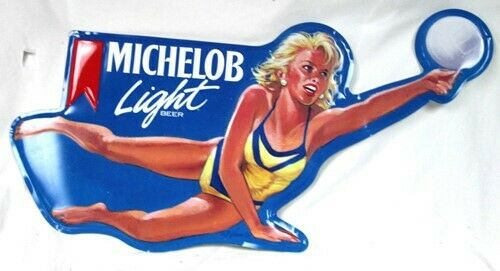 Vintage 1991 Volleyball Girl Michelob Light Beer Tin Metal Sign Anheuser Busch