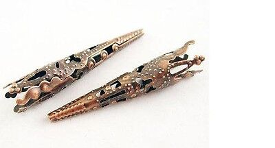 - Long Beads Caps Cone Bead Caps Antiqued Copper Ornate Filigree 42mm 20 pieces