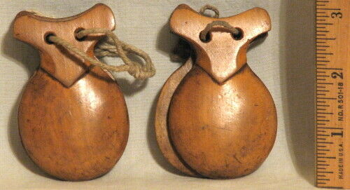 MCM VINTAGE CARVED WOOD CASTANETS - 2 IDENTICAL SETS - MADE in SPAIN