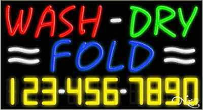 New Wash-dry Fold Wyour Phone Number 37x20x3 Neon Sign Wcustom Options 15118