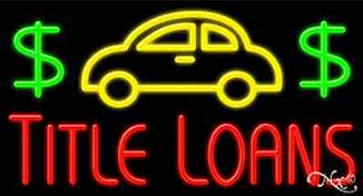 New  Title Loans  37X20 Logo Real Neon Sign W Custom Options 11307