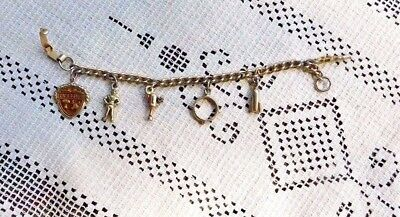 VINTAGE GOLD TONE 1950's 5 CHARM CHARM BRACELET 6 INCH CHILD ? OUTER SPACE - Space Themed Dress Up