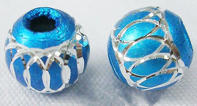 - 25 TURQUOISE BLUE Round Aluminum Beads with Diamond Cut Swirls 8mm bme0323