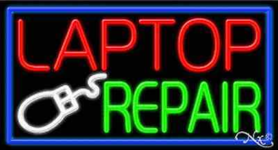 New Laptop Repair 37x20 Border Real Neon Sign Wcustom Options 11292
