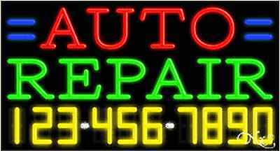 New Auto Repair Wyour Phone Number 37x20 Neon Sign Wcustom Options 15042