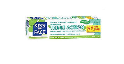 Brand New Kiss My Face Fluoride Free Triple Action Gel Toothpaste Tube 4.5oz