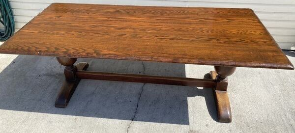 Early 1900s Antique Farm Wood Dining Table Irving & Casson A.H. Davenport 7'