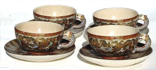 4 antique Japanese Satsuma cups & saucers  REDUCED PRICE