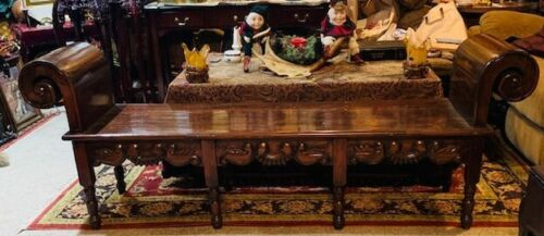 Gorgeous Antique Handmade Rolled Arm Bench from Spain
