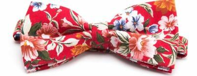Hawaiian Shirt Bow Tie Light Red Flower Floral BowTie Luau Hawaii US SELLER  - Lighted Bow Tie