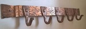Hand Forged Copper Coat Rack with Five Hooks