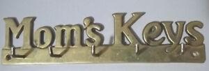 Vintage Brass Mom's Keys Wall Hanging Key Ring Hooks