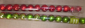 2 x 12 green and red Christmas tree balls