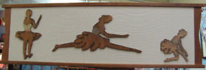 "Large Teak Wood and Brass Wall Decor of Ballerinas 46-1/2"" x 14"""