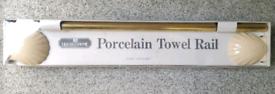 Porcelain Shell Design Brass Bar Towel Hand Rail BHS New in Box