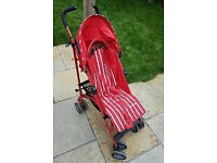 Mothercare Nanu Reclining Umbrella Buggy Stroller Red/ White