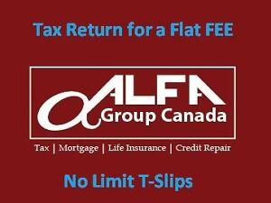 One-fee tax preparation services Brampton Toronto Milton