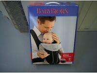 BabyBjorn Baby Carrier Active in Black/Silver - with Box and two Baby Bjorn dribble Bibs