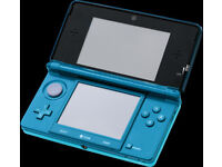 nintendo 3ds aqua blue with 50 games