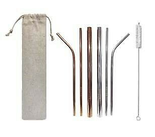 Metal stainless steel straw set come with brush and 3 design straw angles. silver rose gold in stock