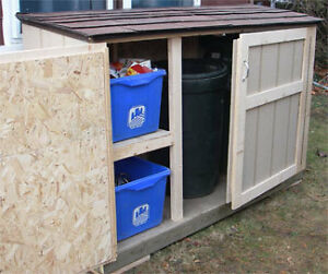 Wooden Bin Storage Centre - 'Mini Shed' - Raccoon Proof