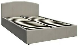 Marston Faux Leather Lift Up Storage Bed Frame Single GREY. H 88cm L 202cm, W 144 cm