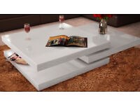 Modern High Gloss White Square Coffee Table 3 Layer