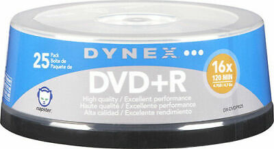 Dynex Blank DVDs DXDVDPR25 Storage Media 25 Pack 4.7GB 120mi