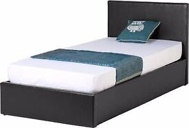 """❤❤ JET BLACK OR COFFEE BROWN❤ ❤ -BRAND NEW SINGLE LEATHER BED WITH 9"""" DUAL-SIDED DEEP QUILT MATTRESS"""