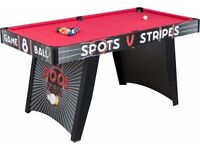 Brand New Boxed 5Ft Pool /Snooker Table , Red cloth, balls, cues etc unused £149 new only £50 .