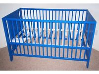 Ikea blue Cot Bed - very good condition 120 x 60 cm