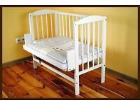White bedside crib / cot / bed like new