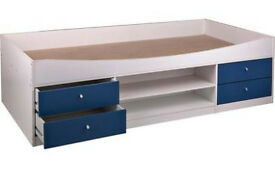 Malibu Single Cabin Bed Frame - Blue on White