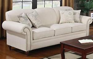 Coaster 502511 Norah Rolled Arm Sofa In Oatmeal Tone Linen Blend Upholstery NEW ** 5 CORNERS FURNITURE**