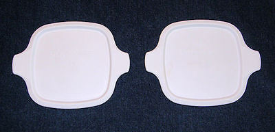 2 CORNING WARE P-41-B P-43-B PETITE CASSEROLE LID REPLACEMENT WHITE PLASTIC NEW!