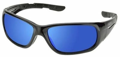 Elvex RSG100 Series Safety Glasses Gloss Black Frame Sky Blue Mirror Lens