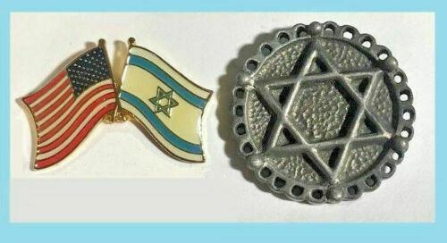 2 Pins -Flags of Israel & USA Friendship Pin & Star of David Pin
