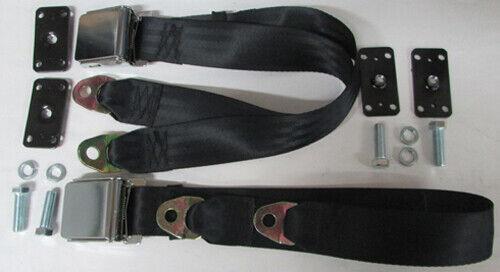 """Chrome Lift Non Retractable Lap Black Seat Belts (2)+ Retrofit Mounting Kit:74"""""""