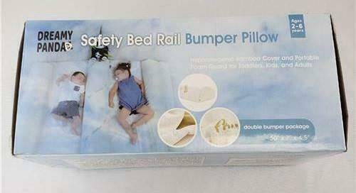 = Dreamy Panda Safety Bed Rail Bumper Pillow Hypoallergenic Bamboo Cover 2-6 yrs