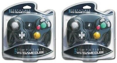 2x Black Shock Game Controller for Nintendo Gamecube GC Wii in Sealed Packaging