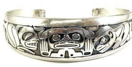 Northwestern Barry Herem Sterling Silver Tribal Design Cuff Bracelet 35 Gr