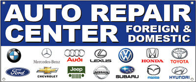 20x48 Inch Auto Repair Center Foreign Domestic Vinyl Banner Sign W Logos Bb