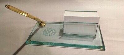 Nra Engraved Glass Desk Set Pen And Holder With Business Card Holder