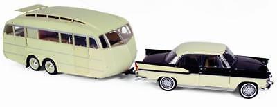 Norev 185726 Caravane Henon 1955 weiss Wohnwagen Camping-Anhänger 1:18