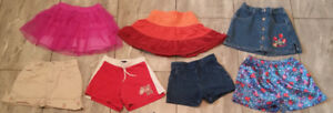 Assorted skirts & shorts in size 3T to 4T