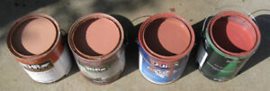 4 cans of Behr red-brown Premium paint