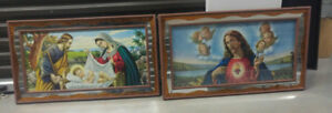 vintage religious mirror framed pictures a must see nice  color
