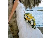Silk and lace wedding dress